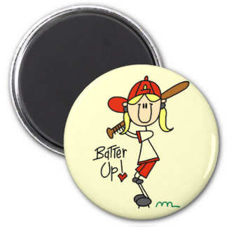 Girls Baseball Batter Up T-shirts and Gifts 2 Inch Round Magnet
