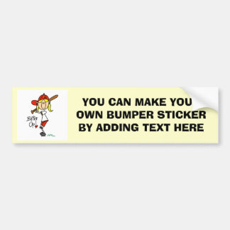 Girls Baseball Batter Up T-shirts and Gifts Car Bumper Sticker