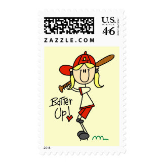 Girls Baseball Batter Up Tshirts and Gifts Postage Stamp