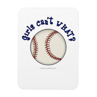 Girls Baseball-Blue Rectangular Photo Magnet