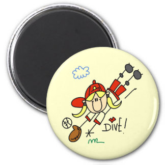 Girls Baseball Diving into Home Tshirts and Gifts 2 Inch Round Magnet