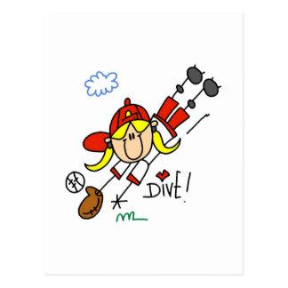 Girls Baseball Diving into Home Tshirts and Gifts Postcard