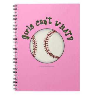 Girls Baseball-Green Spiral Notebook