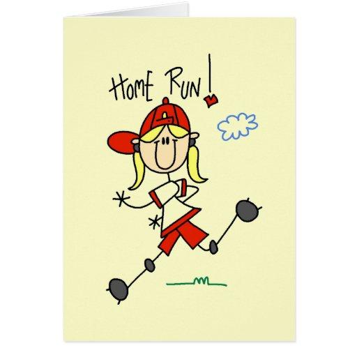 Girls Baseball Home Run Tshirts and Gifts Card