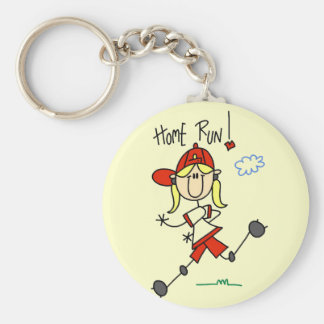 Girl's Baseball Home Run Tshirts and Gifts Keychain