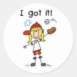 Girls Baseball I Got It Classic Round Sticker