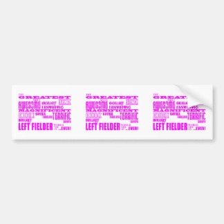 Girls Baseball : Pink Greatest Left Fielder Bumper Sticker
