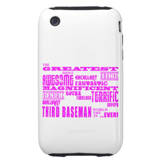 Girls Baseball : Pink Greatest Third Baseman Tough iPhone 3 Covers