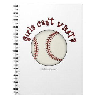 Girls Baseball-Red Spiral Notebook