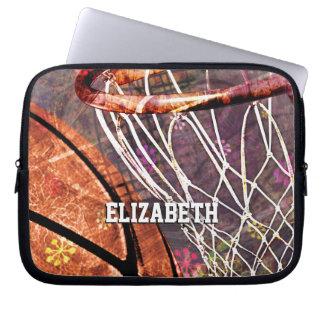Girls Basketball and Hoop pink purple her name Computer Sleeve