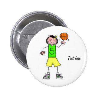 Girls Basketball Button