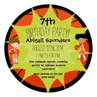 Girls Basketball Custom Birthday Circle Invitation