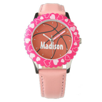 Girls Basketball Cute Pink Custom Wrist Watch