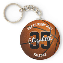 girls' basketball keychain w team name