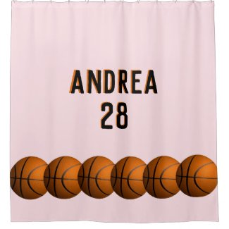 Girls Basketball Name and Number Shower Curtain