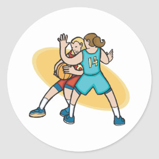 girls basketball on the defense classic round sticker