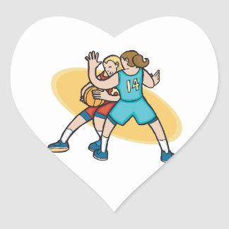 girls basketball on the defense heart sticker