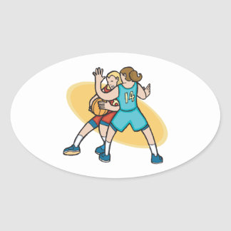 girls basketball on the defense oval sticker