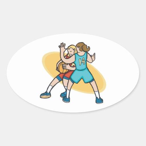 girls basketball on the defense oval sticker