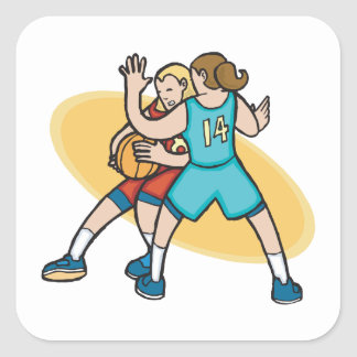 girls basketball on the defense square sticker