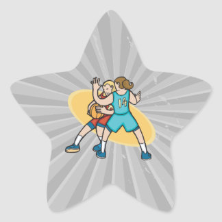 girls basketball on the defense star sticker