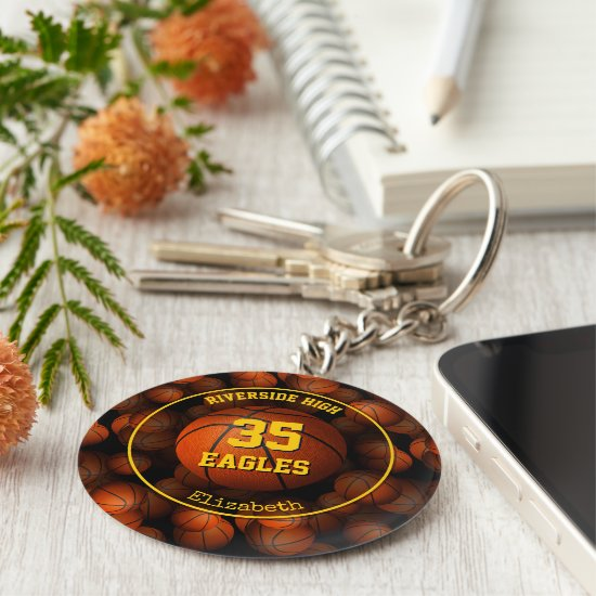 Girls' basketball personalized keychain
