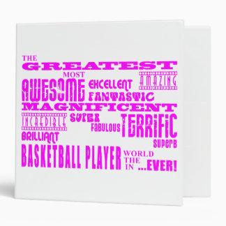 Girls Basketball : Pink Greatest Basketball Player 3 Ring Binder