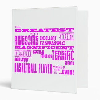 Girls Basketball : Pink Greatest Basketball Player Vinyl Binder