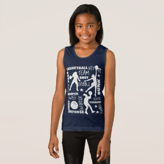 Girls Basketball SportsTerminology Typography Tank Top