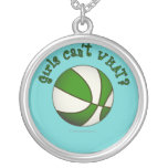 Girls Basketball - White/Green Round Pendant Necklace