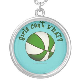 Girls Basketball - White/Green Round Pendant Necklace