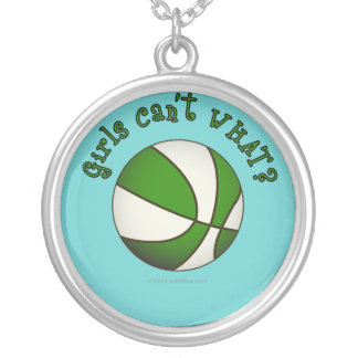 Girls Basketball - White/Green Silver Plated Necklace