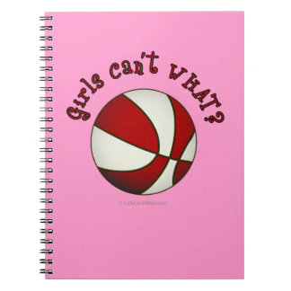 Girls Basketball - White/Red Spiral Note Book