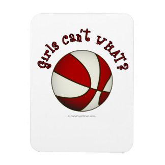 Girls Basketball - White/Red Rectangular Photo Magnet