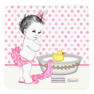 Girls Bath Time Baby Shower Card