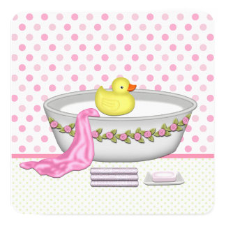 Girls Bath Time Baby Shower 5.25x5.25 Square Paper Invitation Card
