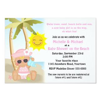 Girl's Beach Baby Shower Card