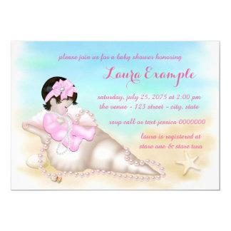 Girls Beach Baby Shower Card