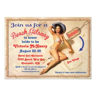 "Girls Beach Getaway Weekend Party Invitations 5"" X 7"" Invitation Card"