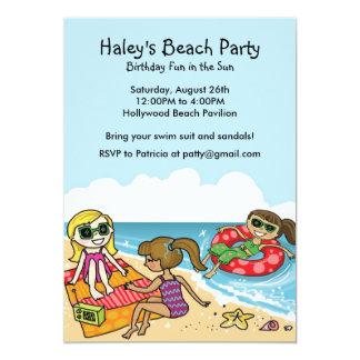 "Girls Beach Party Invitation 5"" X 7"" Invitation Card"