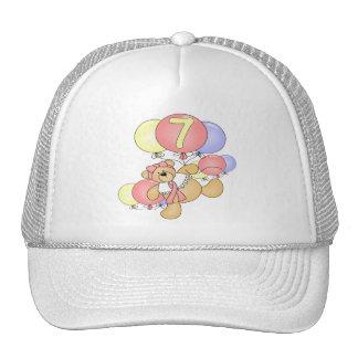 Girls Bear 7th Birthday Gifts Trucker Hat