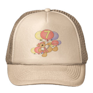 Girls Bear 7th Birthday Gifts Trucker Hat