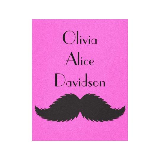 Girls Bedroom Canvas Mustache Moustache Print Gift