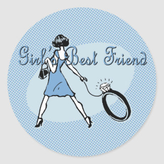 Girl's Best Friend Classic Round Sticker