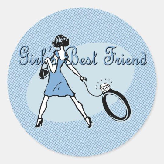 Girl's Best Friend Classic Round Sticker
