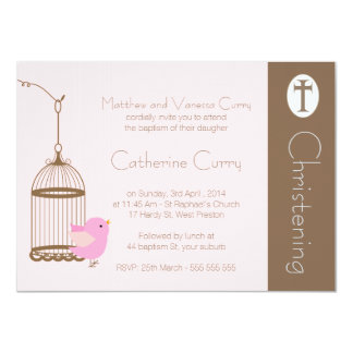 Girls Bird Cage Christening Baptism Invitation