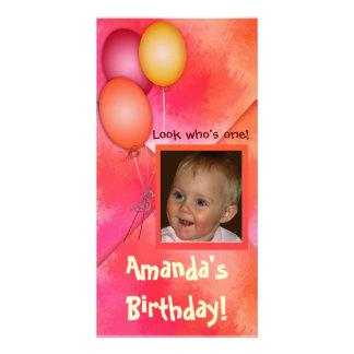Girl's birthday balloon photo card template