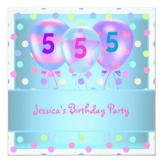 Girls Birthday Balloons Cake Pastel Blue Card