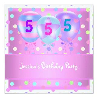 Girls Birthday Balloons Cake Pastel Pink Card