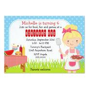 Girls Birthday BBQ 5x7 Paper Invitation Card at Zazzle